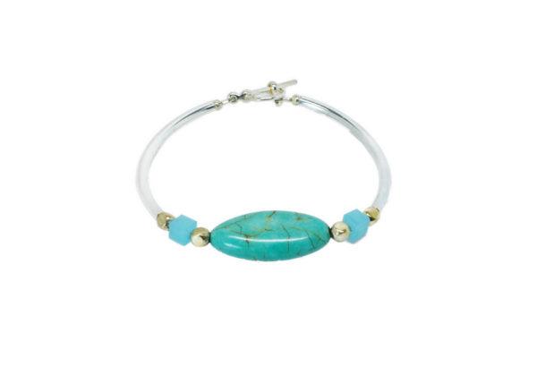 Bracelet femme argenté turquoise