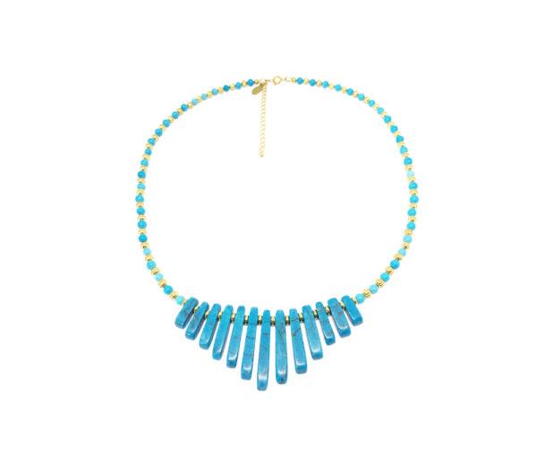 Collier plastron Égyptien en turquoise