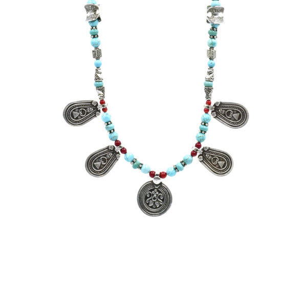 Collier ethnique turquoise et corail