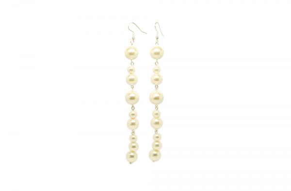 Boucles d'oreilles longues perles nacrées