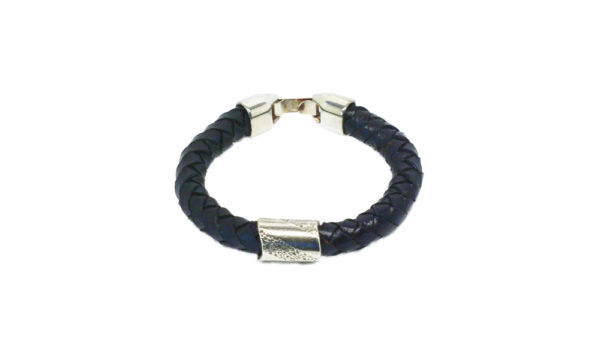 Bracelet homme cuir noir tressé