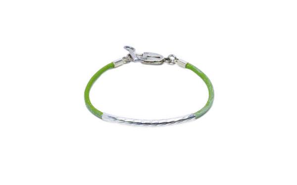 Bracelet cuir vert perle tube