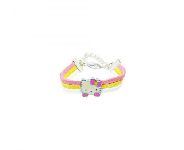 Bracelet enfant petit chat émaillé
