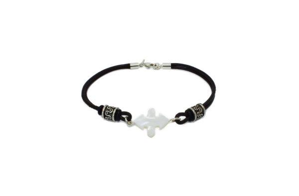 Bracelet cuir mixte noir et nacre