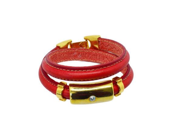 Bracelet cuir double tour rouge