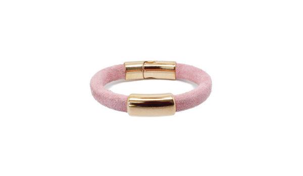 Bracelet cuir daim doré