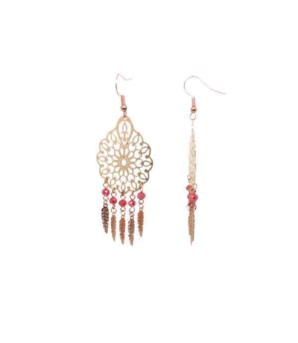 Boucles d'oreilles filigrane or rose