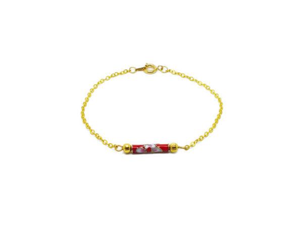 Bracelet chaine perle émaillée
