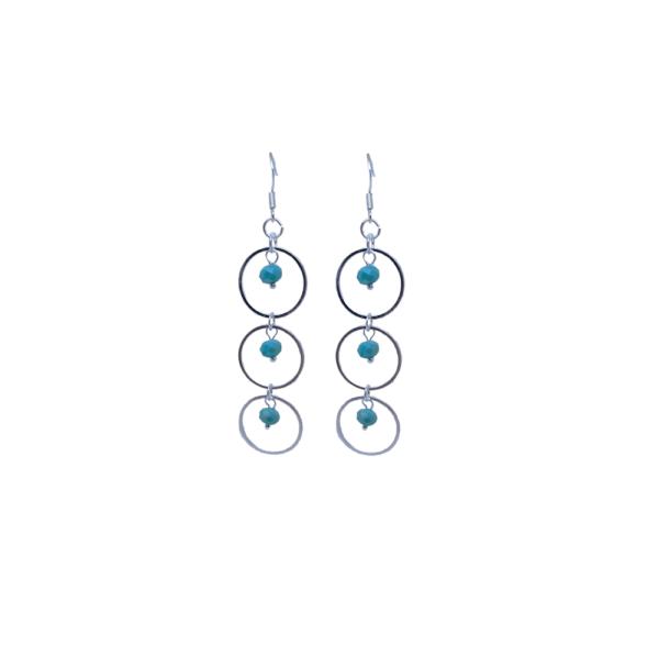 Boucles d'oreilles argentées trois anneaux