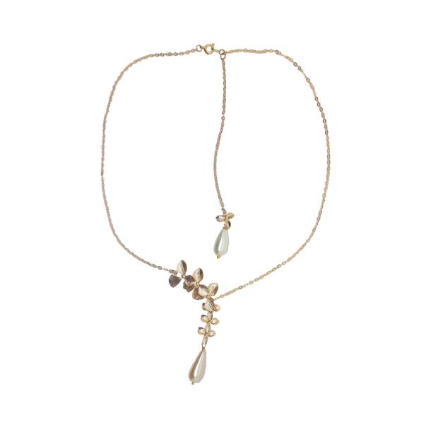 Collier fleur orchidée dorée