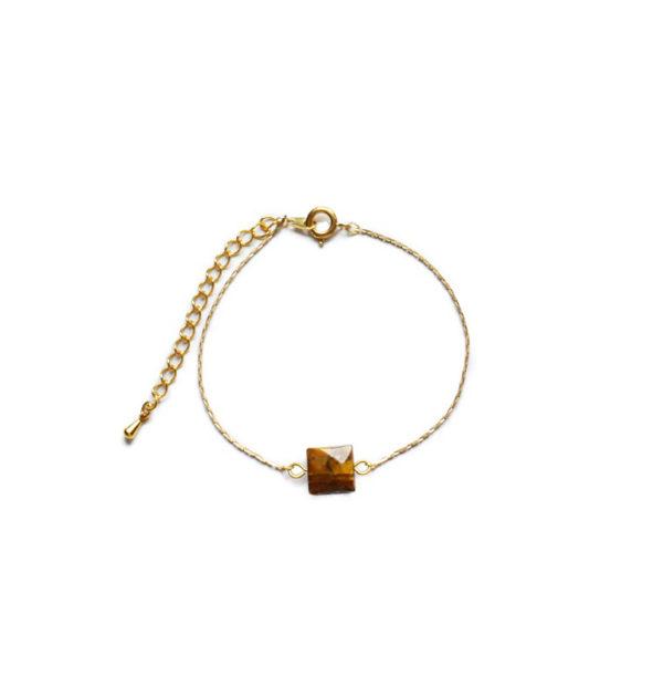 Bracelet doré pierre œil de tigre