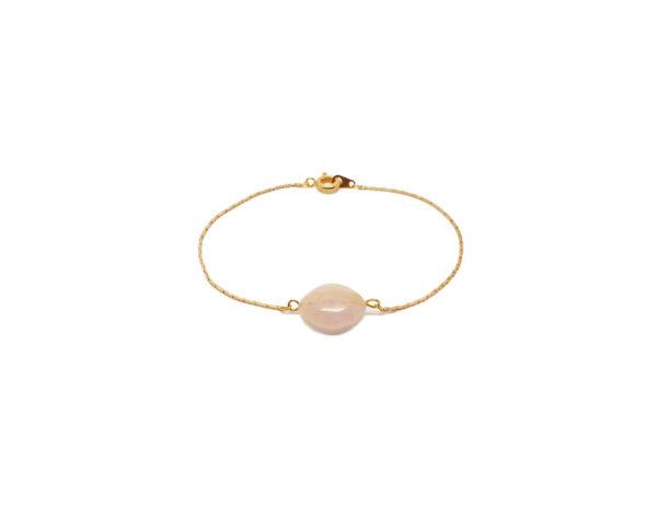 Bracelet doré pierre rose